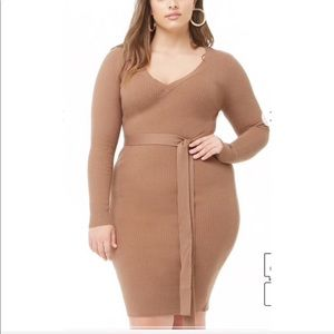3/$20 Forever 21 plus size belted ribbed dress